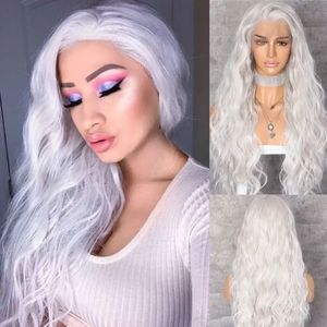 White Wavy Lace Front Wig